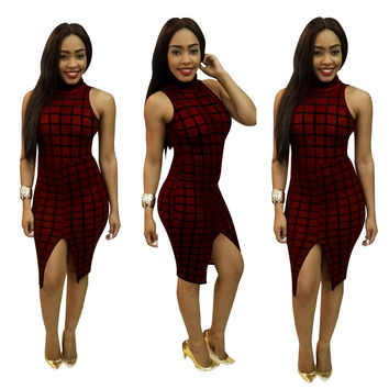 Wine Red Check Sleeveless Bodycon Dress