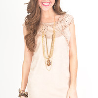 Blush Faux Suede Dress with Laser Cut and Fringe Detail