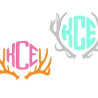 Custom Deer Antler Monogram Vinyl Car Decal, Country Girl Decal, Hunting Decal