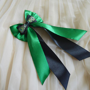 Hair bow - gothic goth black and green -  harry potter slytherin lolita harajuku victorian princess fashion kawaii costume prop - nekollars