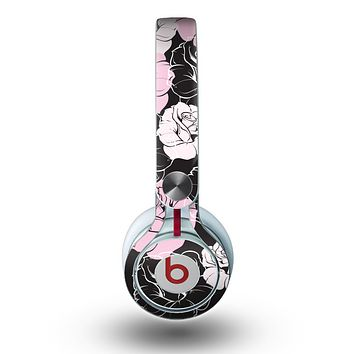 The Pink and Black Rose Pattern V3 Skin for the Beats by Dre Mixr Headphones