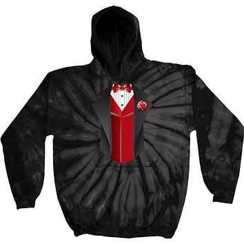 Buy Cool Shirts Tuxedo Hoodie Red Vest Tie Dye Hooded Sweatshirt