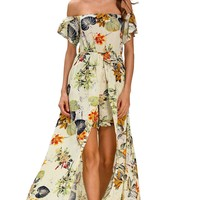 Beige Multi-color Floral Romper Maxi Dress