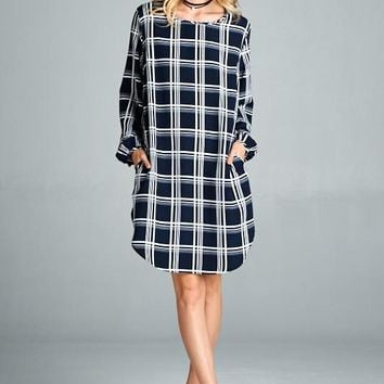 Loose Fit Long Sleeve Plaid Dress