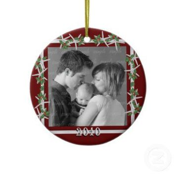 Holly and Starfish Red Family Photo Frame Christmas Tree Ornament from Zazzle.com