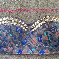 Studded Bustier 34C Bra Top Tribal Print Silver OR Gold OR Black Studs
