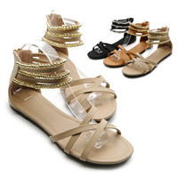 NEW Womens Beads Accent Cross Strap Gladiator Strappy Flats Sandal Multi Colored