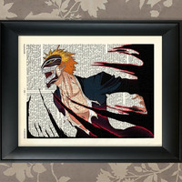 Kurosaki Ichigo Hollowfication Poster Bleach Anime / Upcycled Dictionary Antique book page Art Print / Vintage Greek Encyclopedia Poster