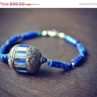 ON SALE NIZHONI Lapis Lazuli and Azurite Tribal Native Hand Beaded Bracelet