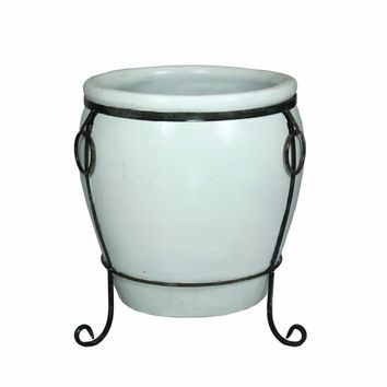 Fine-Looking Ceramic Flower Pot, White By Benzara