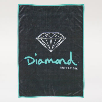Diamond OG Script Blanket in Black/Diamond Blue - HOMEGOODS - ACCESSORIES