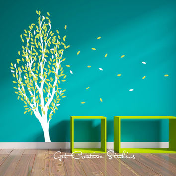 Branch Wall Decal Leaves Leaf Green White Wind Tall Floating Spring Breeze Cottage Decor Stickers - 300 LEAVES!