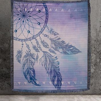Woven Tapestry Dream Catcher in Purple Blanket or Wall Hanging all Cotton