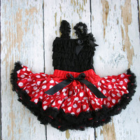 Minnie Mouse Dress - Minnie inspired pettiskirt tutu with matching black lace ruffle romper- 2 piece set - baby's first birthday - baby girl