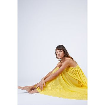 Mad Maxi Sheer Mesh Dress - Lemon Drop Yellow
