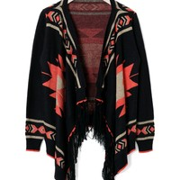 Black Long Sleeve Aztec Cardigan with Fringe Detail