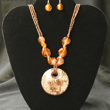 Beautiful Vintage Amber Glass Necklace and Earring Set