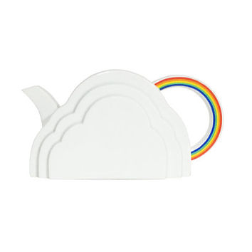 Vintage 1970s Vandor Cloud and Rainbow Teapot / White Modern Collectible Kitchen Accent / Eclectic Vandor Imports San Francisco 1978