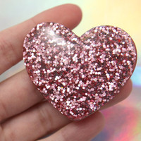 55mm Huge Pink Glitter Heart High-Quality Resin Flatback Cabochons - 2 pc set