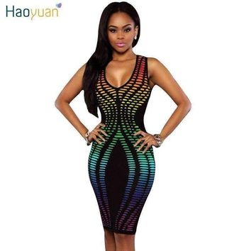 Bodycon Party Dresses Plus Size Sleeveless Dashiki Sundress