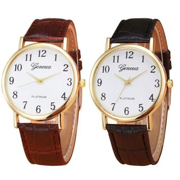Men Casual Faux Leather Mens Quartz Watch