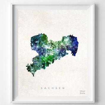 Sachsen Map, Germany, Print, Saxony, Watercolor, German, Europe, Home Town, Poster, Country, Nursery, Wall Decor, Painting, Bedroom, World
