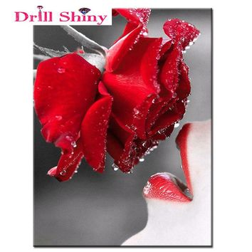 5D Diy Diamond Embroidery Flowers Painting Puzzle Pictures Of Sexy Lips And Red Rose Resin round Drill Cross-Stitch Beads Set