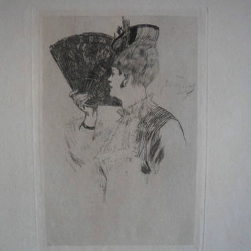 Fine Art Etching - Parisine by Felicien Rops - 1875 on hand-laid paper uncut, original and rare.
