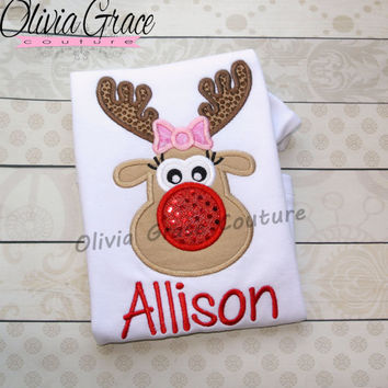 Girls Reindeer Shirt, Girls Christmas Shirt, Twins Christmas Shirt, Embroidered Applique Baby Bodysuit or Girls Shirt
