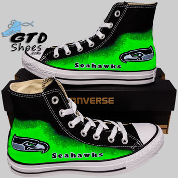 Hand Painted Converse Hi Sneakers. Seattle Seahawks. Go Hawks. Football.  Superbowl.12t 75a1cf91f