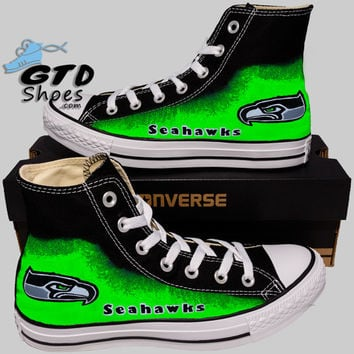 Hand Painted Converse Hi Sneakers. Seattle Seahawks. Go Hawks. Football. Superbowl.12th man. Handpainted shoes. V2.5 green eyes.