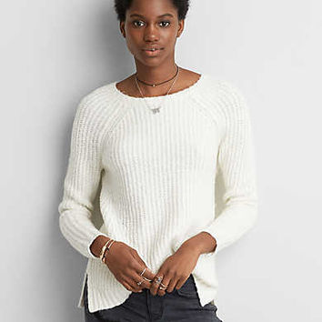 AEO Textured V-Neck Sweater , Deep Plum