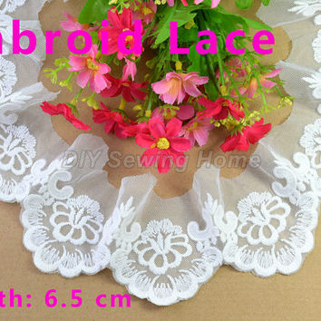 6.5cm width cotton embroid sewing ribbon guipure lace trim or fabric warp knitting DIY Garment Accessories free shipping#2894