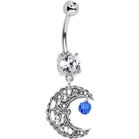 Blue Fancy Crescent Moon Belly Ring Created with Swarovski Crystals