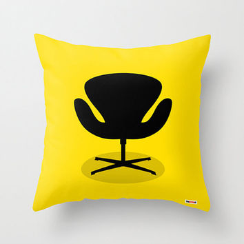 Mid-century modern chair throw pillow cover - Yellow Decorative pillow cover - Modern pillow cover - Designer pillow - architect gift