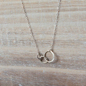 Sterling Silver Past, Present, Future Necklace - 3 Linked Circles - Simple Everyday Necklace