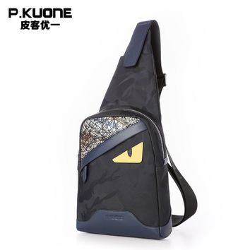 P.KUONE Brand Luxury Design Monster Eye Leather Chest Pack Bag Men Single Shoulder Bags Canvas Funny Cross body Chest Bag Male