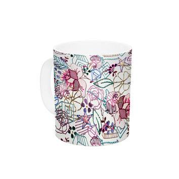 "DLKG Design ""Cool Stitch White"" Blush Ceramic Coffee Mug"