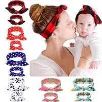 1SET Women Hair Bands Mom And  Flower Headband Hair Elastic Bow Headbands kids Children Headwear Hair Accessories
