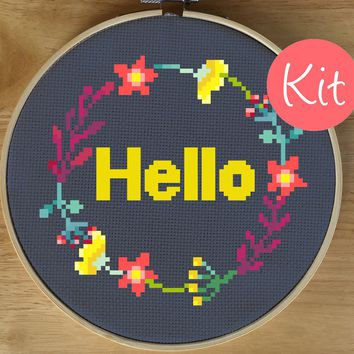 Modern Cross Stitch Kit, Hello Flower Cross Stitch