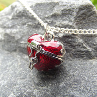 3 Dimensional Red Heart Locket Box Necklace
