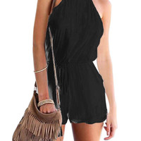 Black Cut Out Back Spaghetti Romper