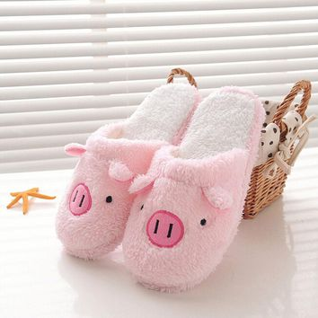2019 Women's Slippers With Fur Winter Casual Shoes Lovely Pig Home Floor Soft Stripe Slippers Female Shoes 36-40 Keep Warm Hot