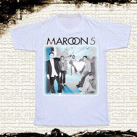 Size S --  MAROON 5 T Shirts Maroon 5 Shirts Alternative Rock Shirts Unisex T Shirts Women T Shirts White T Shirts Pop Rock T Shirts
