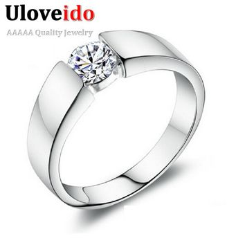 15% off Wedding Rings for Women/Men Crystal Vintage Male Ring for Men Jewellery Anel Masculino Bijouterie 2017 Uloveido J002