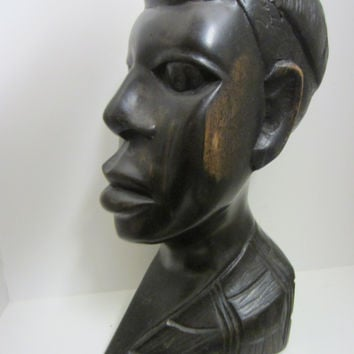 Folk Art African Bust Hand Carving Ebony Wood Sculpture