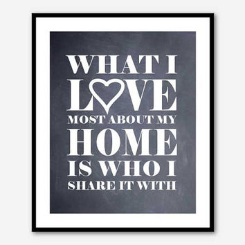 Inspirational Wall Art - 8 x 10 Print - What I love most about my home is who I share it with - Typoghraphy - Chalkboard Distressed Vintage