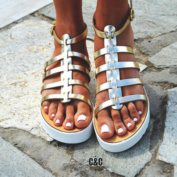 Leather women gold Sandal shoes, Gladiator sandals, leather shoes