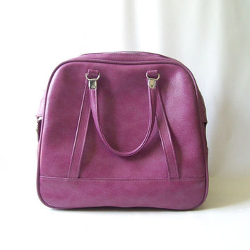 vintage 1960's purple american tourister large bag carry on luggage weekender womens ladies vinyl fashion travel gear accessories accessory