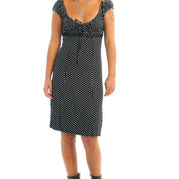 Vintage 90's Polka Dot Empire Waist Midi Dress - One Size Fits Many